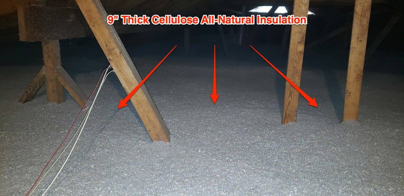 """9"""" thick cellulose all-natural insulation"""